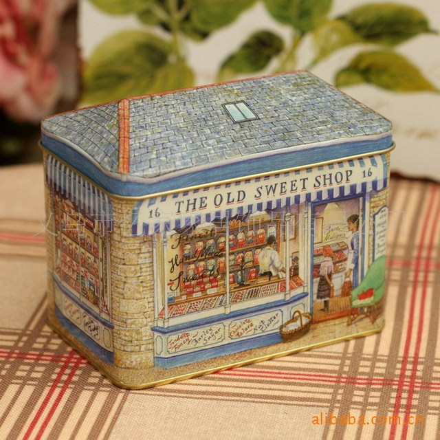 Vintage Home Decor Container Store Tin Houses Seal Metal Food Jewelry Tank  Storage Box Biscuits Tins