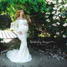 94a85ac3104a8 Long Sleeve and Train Stretch Cotton Maternity Photography Dress Maternity  Photo Prop Off Shoulder Elegant Fitted Gown Plus Size