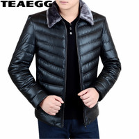 TEAEGG Casual Black Winter Jacket Men 2017 Cotton Padded Plus Size Pu Leather Man Jacket Winter