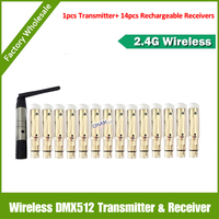DHL Free Shipping 15PCS Lot 1pcs DMX Transmitter And 14pcs Wireless DMX512 XLR Rechargeable Receiver For