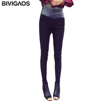 2015 New Fashion Euramerican Black White Slim Elastic Splicing Leather High Waist Leggings Skinny Pencil Pants
