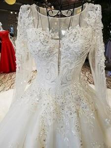 Image 4 - LS53710 ivory as picture แขนยาว o neck ชุดลูกไม้ลูกไม้ลูกไม้ขึ้นกลับมืองานแต่งงาน vestido de noiva รูปภาพจริง