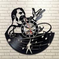 Queen Band Freddie Vinyl Record Clock Rock Star Handmade Creative Wall Clock Home Decor Antique Black