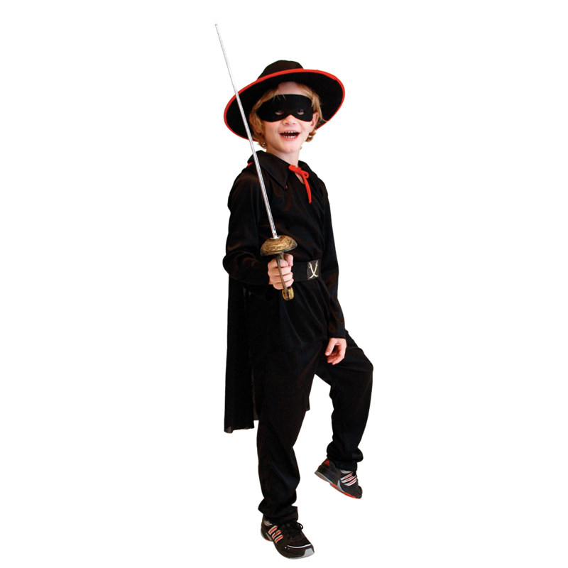 Kids Child Black Masked Bandido Zorro Costume For Boys Halloween Purim Carnival Masquerade Party Outfit