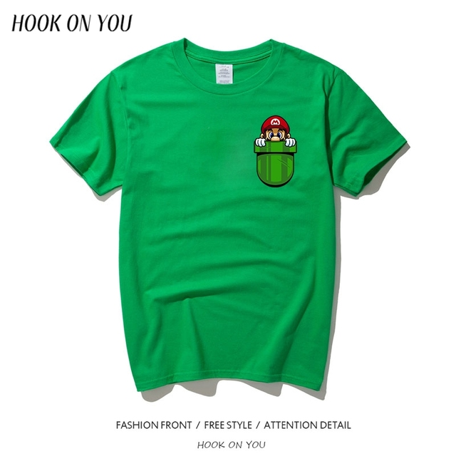 90095cc7a Men Tshirt Funny Super Mario Inside Your Pocket T Shirt Summer Brand  Clothing Fashion Creative T-shirt Men Short Sleeve Tees