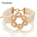 Nandudu 3 rows Pearl Bracelet Fish Net Clear Crystal Cuff Bridal Women Girl Bangle Jewelry Gift B260