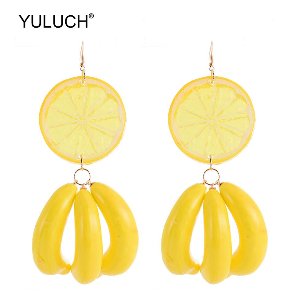 YULUCH Fashion Personality Women Summer Fruit Statement Earrings Ethnic African Indian Lemon Banana Pendant Earrings Party Gifts image