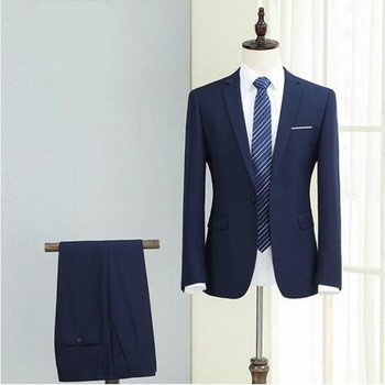 High Quality Mens Suits Slim Fit Prom Groom Bussiness Party Suit Royal Blue Man Wedding Tuxedos (Jacket+Pant)
