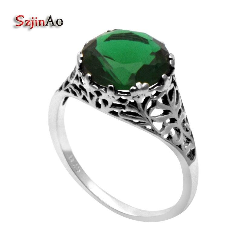 445742fac9ec Szjinao venta al por mayor nueva victoria antiguos 925 plata esterlina  anillo de boda mujeres verde emeald ANILLO DE PLATA 925