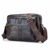 BULLCAPTAIN Genuine Leather Men Bag Casual Business Man Shoulder Crossbody bags Cowhide Large Capacity Travel Messenger bags New
