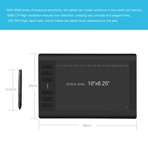 """Image 2 - 2 Pens Huion  New 1060 Plus Graphic Drawing Digital Tablet w/ 8G SD Card 12 Express Key+Protective Film +15"""" Liner Bag+Glove"""