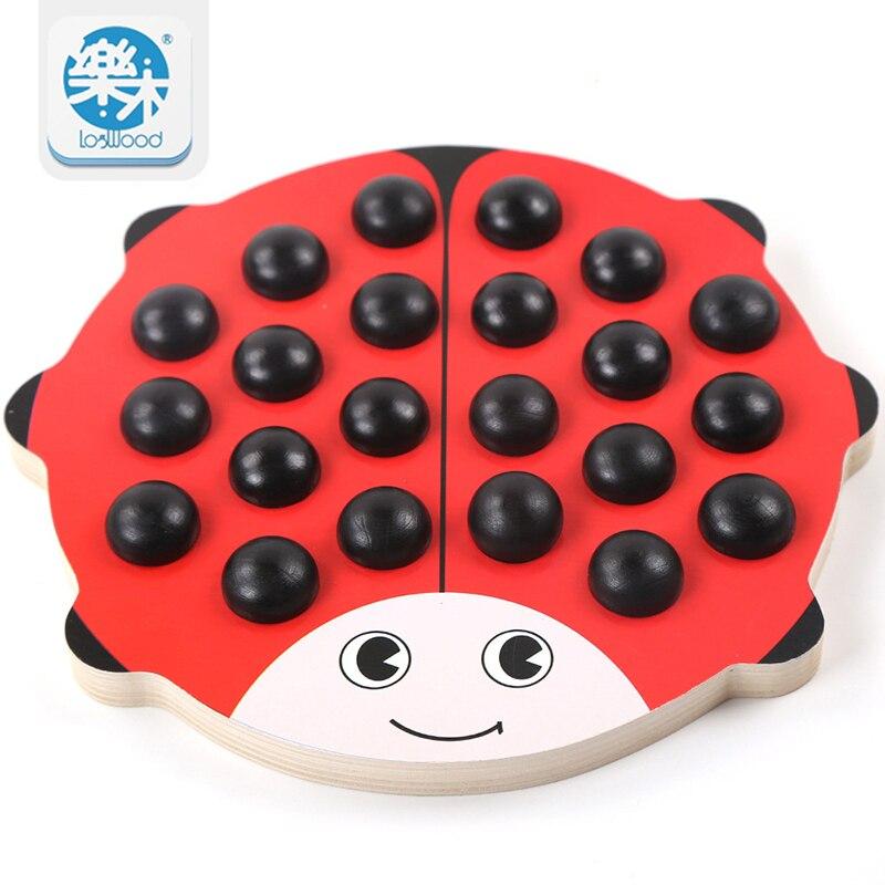 Otroški leseni hrošči spominski šahov Rdeča deska 22 kosov Barvne kocke učenja Izobraževalne igrače za predšolski trening