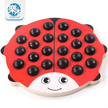 Baby Wooden Beetles Memory Chess Red Board 22 Pieces Colorful Dice Learning Educational Preschool Training Toys for Children