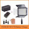 Yongnuo YN300 III 3200 K-5500 K Pro LED видео свет на камеру освещение для свадьбы + NP-F750 батарея + зарядное устройство для Canon Nikon и т. Д.