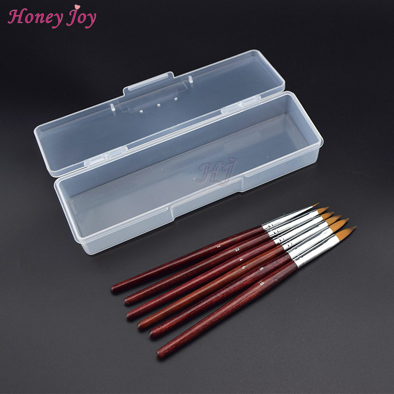 (6pcs Brush+1pc Box)/Set Kolinsky Sable Acrylic Nail Art Brush No.1/2/4/6/8/10 UV Gel Builder Carving Drawing Design Pen Brushes