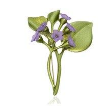 CSxjd 2019 nuevos elegantes broches de color lila estilo de la planta Vintage broches de flores Pin para mujeres decoración para bodas y compromisos regalo