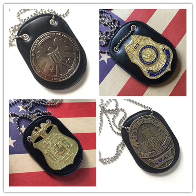 leather chain belt holder for oval police badges LA badge holder