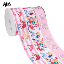 AHB 2Y/lot Printed Grosgrain Ribbon 75mm Princess Swan Printed Tape DIY Wedding Party Decor Ribbons Handmade Sewing Materials цена