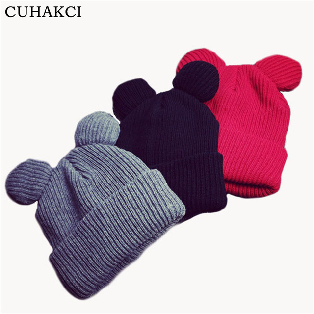1de02008e9a7d CUHAKCI New Cat Ears Skullies Women Casual Caps Knitted Hat Winter Beanies  Keep Warm Hats Unisex Fashion Female Beanies M057