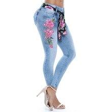 2019 модные джинсы женские хорошего качества большой размер высокой упругой вышивкой ноги брюки женс Лучший!