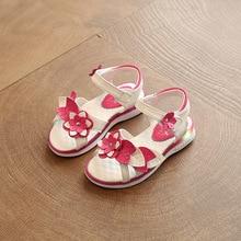 Новые Девушки Сандалии Для Детей Обувь для Девочек Детские Летние обувь Пляжные Девочки Цветок LED Дети Сандалии Плоские С сандалии