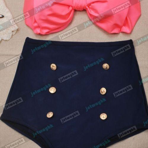 Vintage Retro Pin Up High Waisted Bikini Bow Swimsuit Coral Navy Blue S M L  XL on Aliexpress.com  877ae51d886