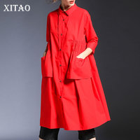 [XITAO] Loose Women Fashion New 2019 Spring Summer Turn down Collar Wrist Sleeve Pocket Solid Color Knee length Dress DLL2774