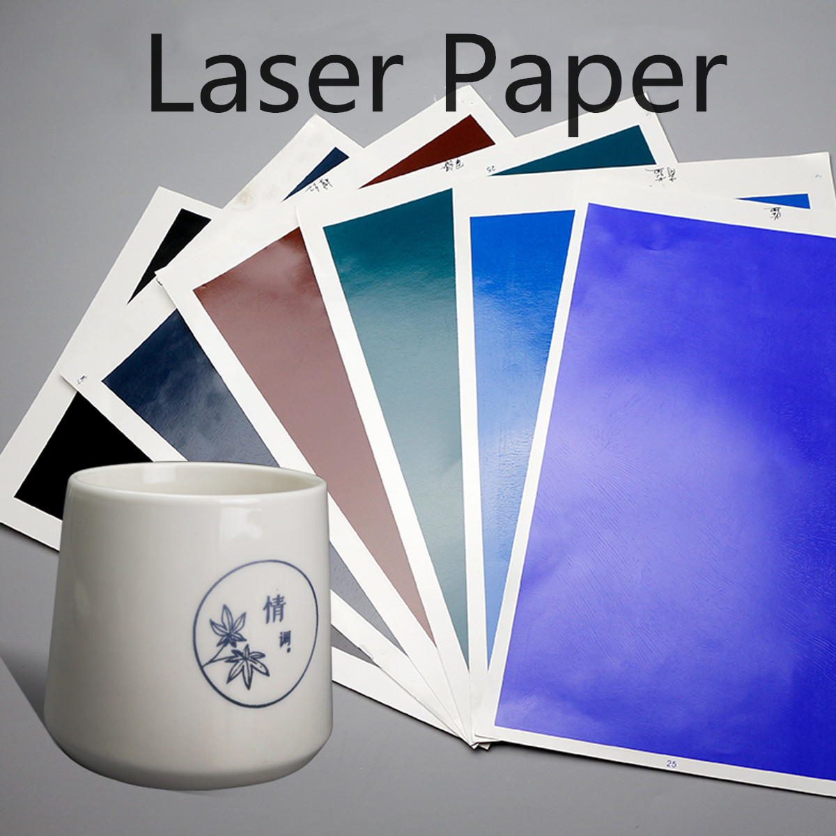 39CM*27CM Black/Gray/Blue/Green/Brown/Blue/Navy Ceramic Laser Paper For CNC Laser Engraving MachineLogo Mark Printer Cutter