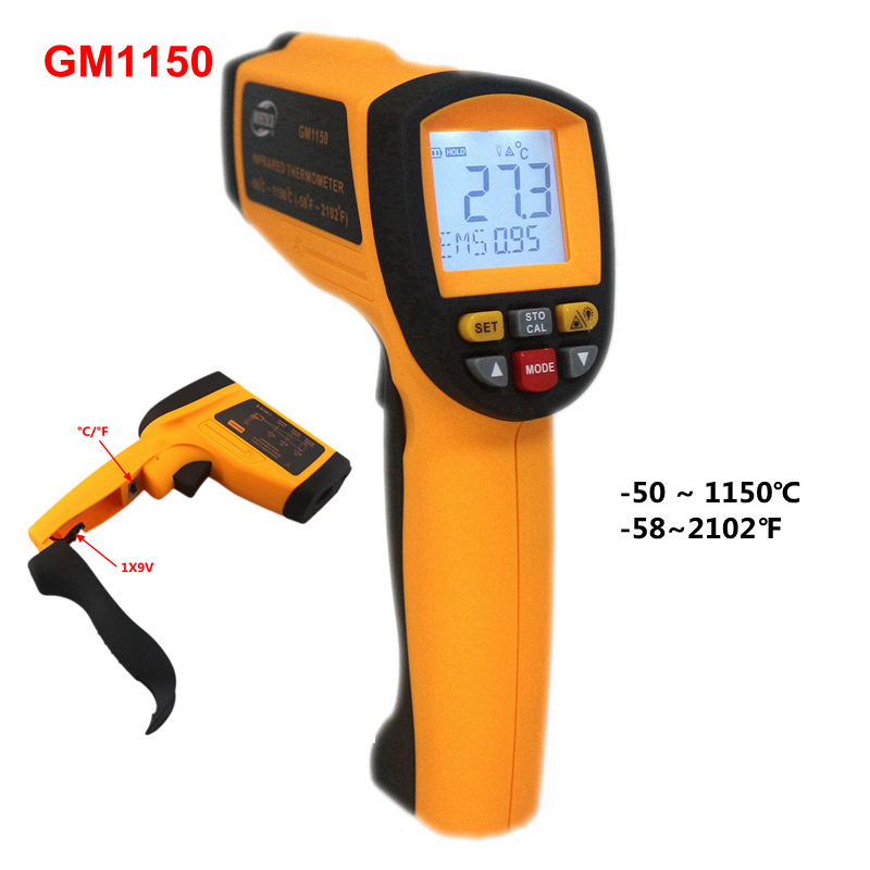 GM1150 -50 ~ 1150C Non-contact Infrared Laser Thermometer -58~2102 F Hanheld Pyrometer IR Temperature Meter with LCD Backlight 50 600c 50 400c handheld non contact ir infrared thermometer digital lcd laser pyrometer temperature meter with backlight
