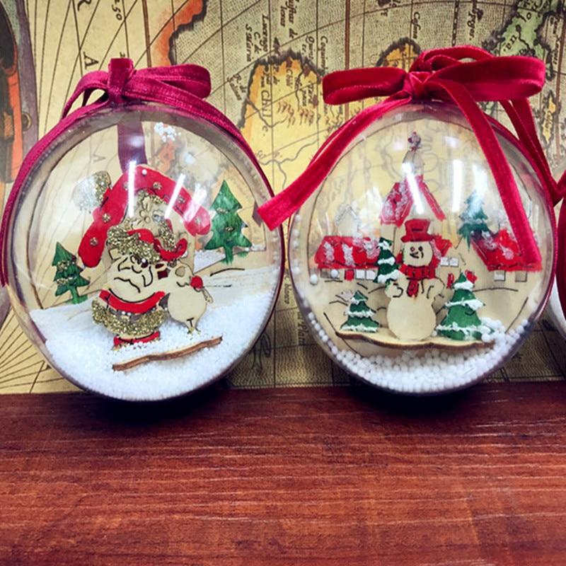 Christmas Ball Ornaments For Tree 6CM Clear Plastic Christmas Balls Wedding Birthday Xmas Party ...