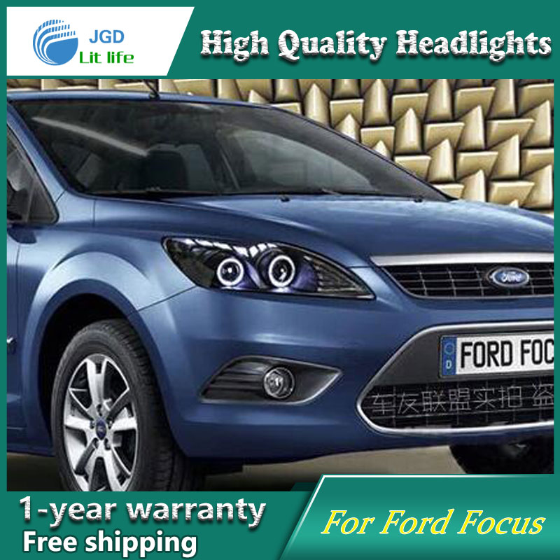 high quality Car styling case for Ford Focus 2009-2013 Headlights LED Headlight DRL Lens Double Beam HID Xenon hireno headlamp for 2013 2015 ford kuga escape se headlight headlight assembly led drl angel lens double beam hid xenon 2pcs
