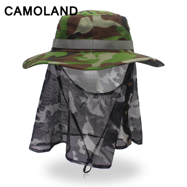 Safari hat Summer Breathable Mesh Anti-Mosquito Bucket Hat Military Army  Fishing Cap Prevent insect bites Camo boonie hats UPF50 853be503b73