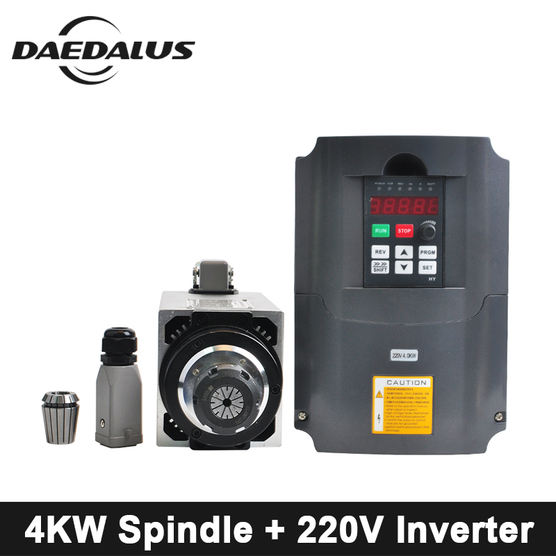 CNC Spindle Motor 4KW 220V Air Cooled Spindle Motor ER25 Collet Chuck + 4KW 220V VFD Inverte For Engraver Milling Machine Tools цены онлайн