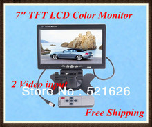 Hot sale!! 7″ TFT HD Color LCD with 2 Video Input Car RearView Headrest Monitor DVD VCR, Free Shipping