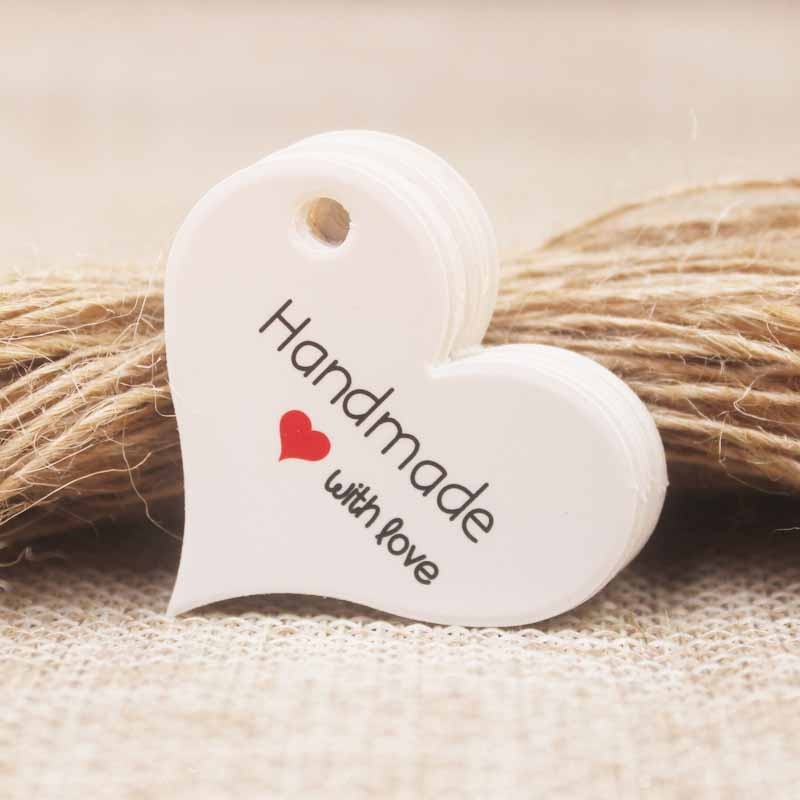 200pcs New Design Kraft/white Handmade Tag,paper Vintage Red Heart Handmade Gift Tag  Products Swing Handmade With Love Hang Tag