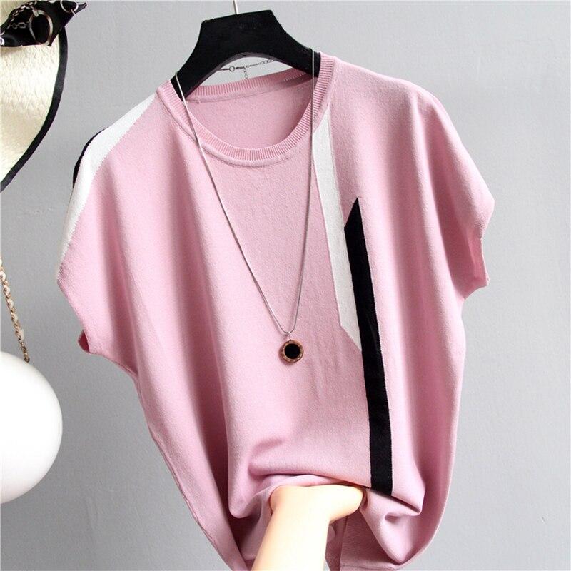 Shintimes fino de malha algodão listrado t camisa batwing manga tshirt feminino 2019 verão topos casual camiseta feminino camisa femme