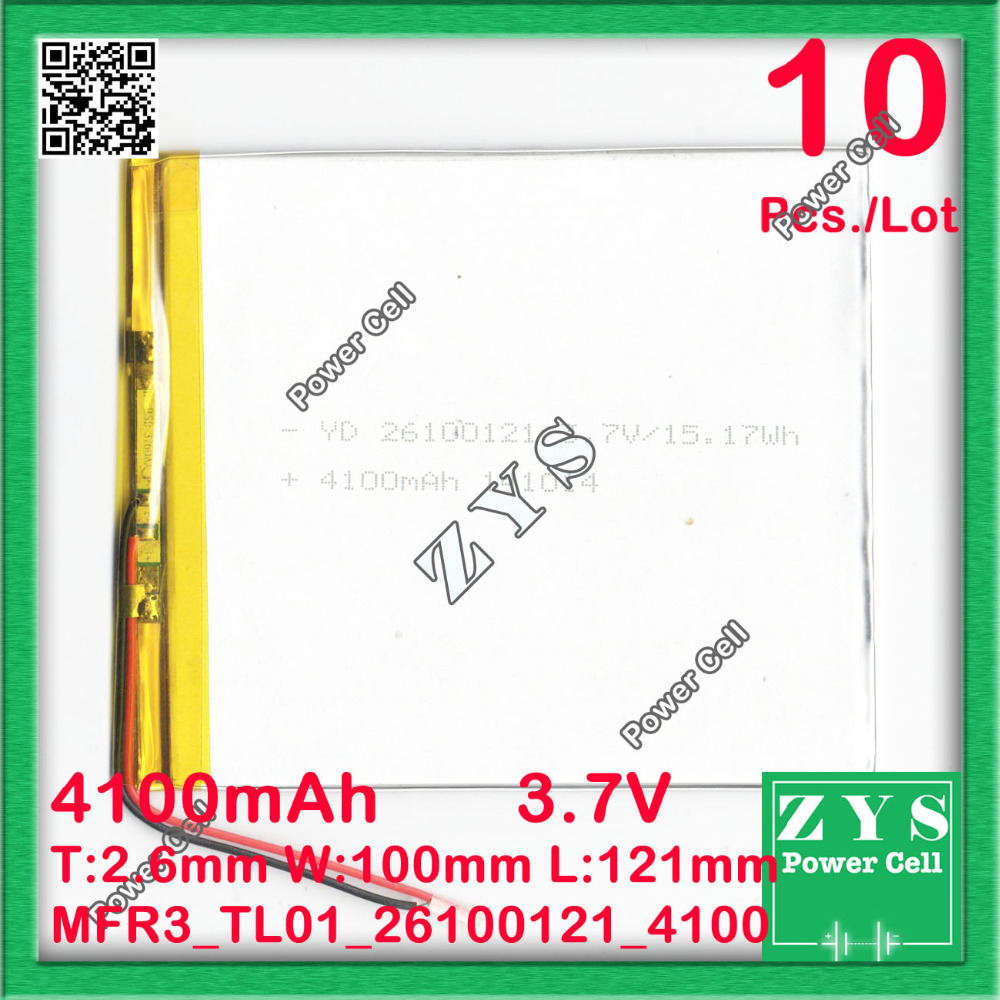 10 pcs./Lot <font><b>battery</b></font> lithium <font><b>battery</b></font> <font><b>3.7v</b></font> <font><b>4100mah</b></font> 26100120 lithium polymer <font><b>battery</b></font> <font><b>3.7v</b></font> <font><b>battery</b></font> for tablet pc,Size:2.6x100x121mm image