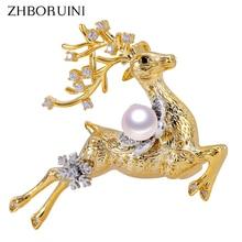 ZHBORUINI 2019 New Fine Jewelry Natural Freshwater Pearl Brooch Elk Pins Women Dropshipping Christmas Gift