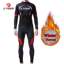 Cycling-Jersey-Set Riding-Clothing X-TIGER Sportswear Long-Sleeves Thermal Fleece Winter