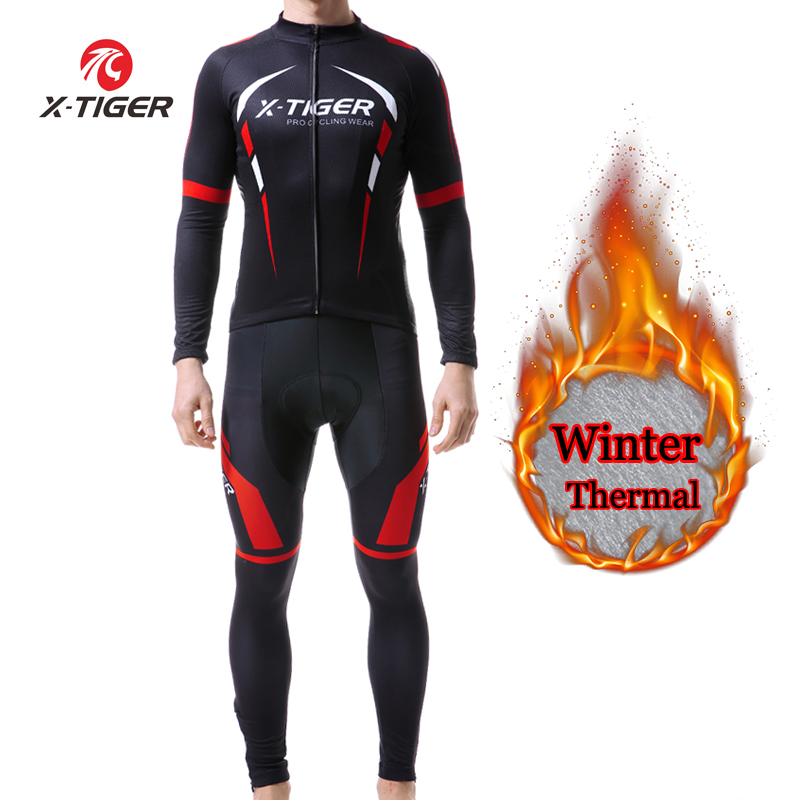 X-TIGER Winter Thermal Fleece Mens Pro Cycling Jersey Set Bicycle Suit Long Sleeves Outdoor Sportswear Climbing Riding Clothing