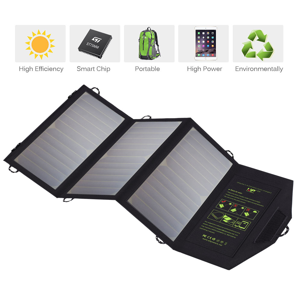 ALLPOWER Solar Panel Charger 5V Solar Phone Charger for iPhone 6 6s 7 8 iPhone X Xr Xs Xsmax iPad mini iPad air Samsung LG Sony.