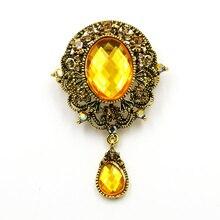 Baiduqiandu брендовые броши в винтажном стиле с желтыми кристаллами в форме капель для женщин с покрытием из античного золота