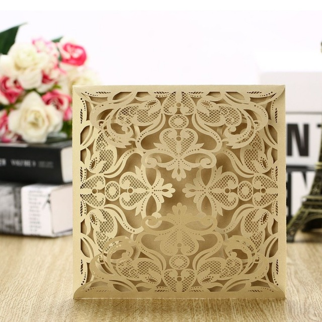 perfect wedding foldable invitation card exquisite hollow out floral
