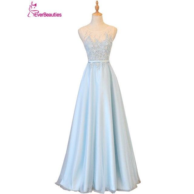Light Blue Robe De Soiree Evening Dresses Long 2018 Tulle Appliqued ...