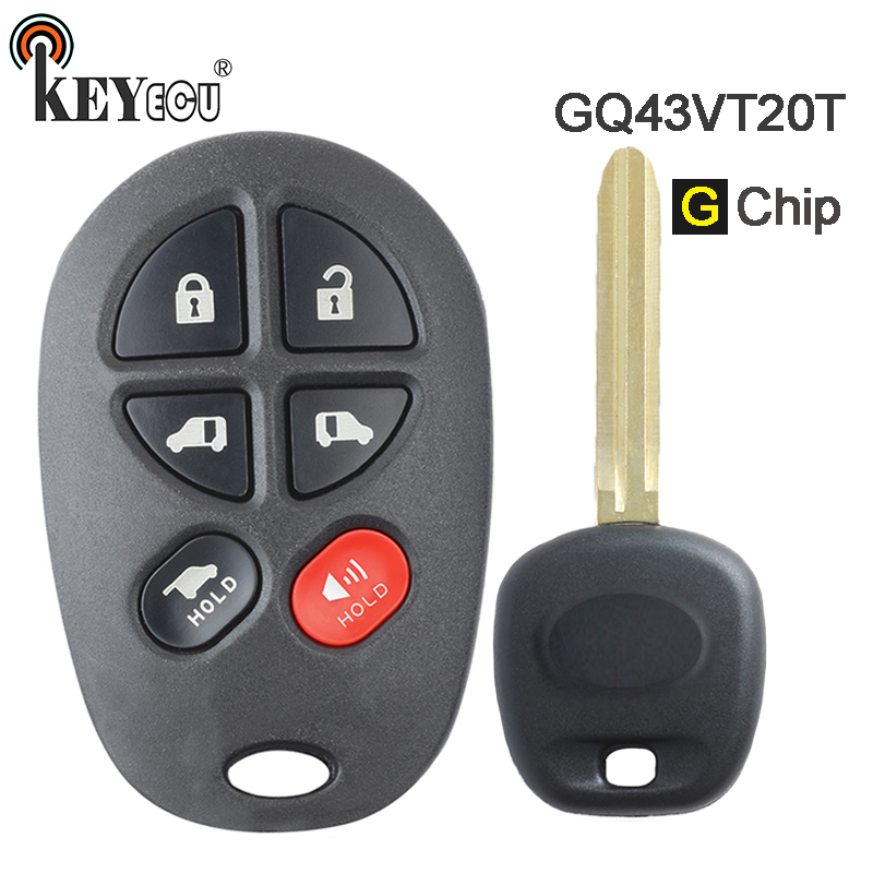 KEYECU  G Chip FCC ID: GQ43VT20T Replacement 5+1 6  Button Remote Car Key Fob for Toyota Toyota Sienna 2011 2012 2013KEYECU  G Chip FCC ID: GQ43VT20T Replacement 5+1 6  Button Remote Car Key Fob for Toyota Toyota Sienna 2011 2012 2013