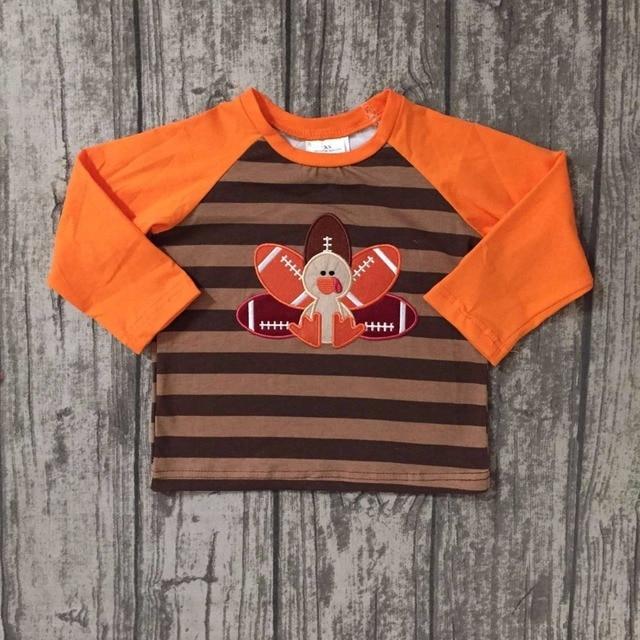 3b90d58cb432 baby boys Fall boutique top t-shirts children clothes orange stripe long  sleeve cotton raglans turkey brown thanksgiving day