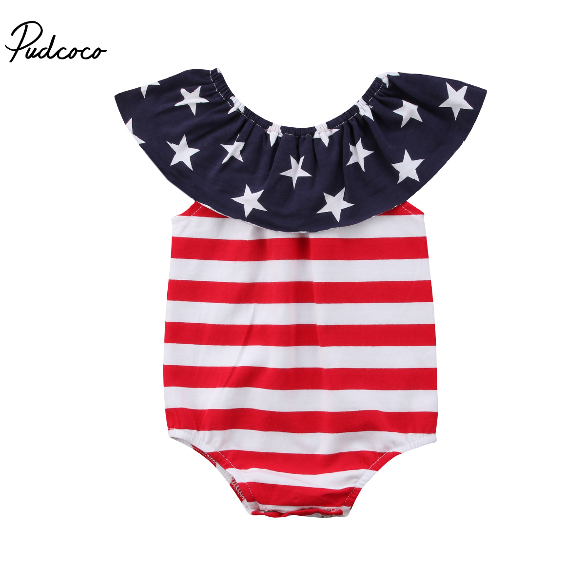 Pudcoco 4th of july Newborn Baby Boy Girls Stripes Star Print Romper Sunsuit Infant Summer Clothes Outfits 3pcs set newborn infant baby boy girl clothes 2017 summer short sleeve leopard floral romper bodysuit headband shoes outfits