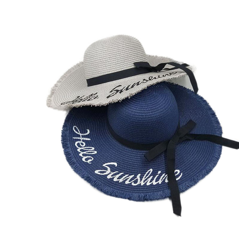 Personalized Letter Embroidery Do Not Disturb Fringed Floppy Beach Hat for Women Honeymoon Nautical