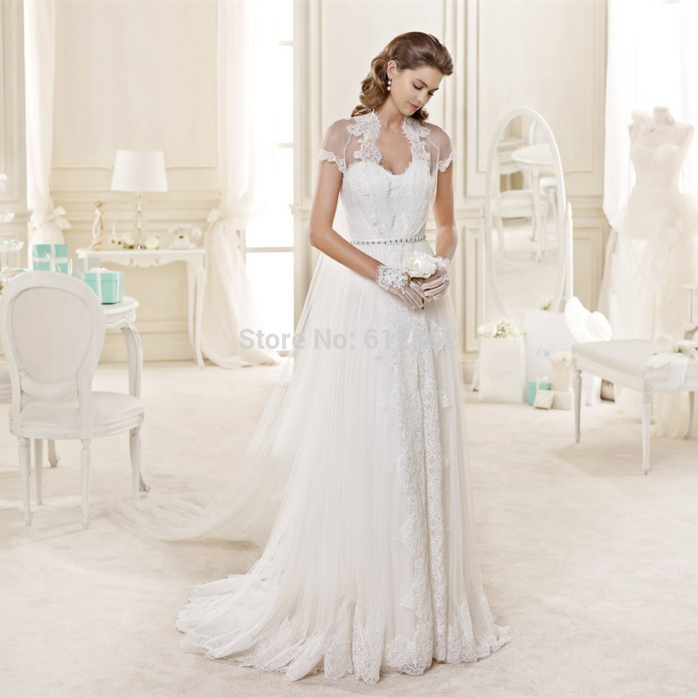 Short Sleeve Lace Covered Back Wedding Dress In Cream