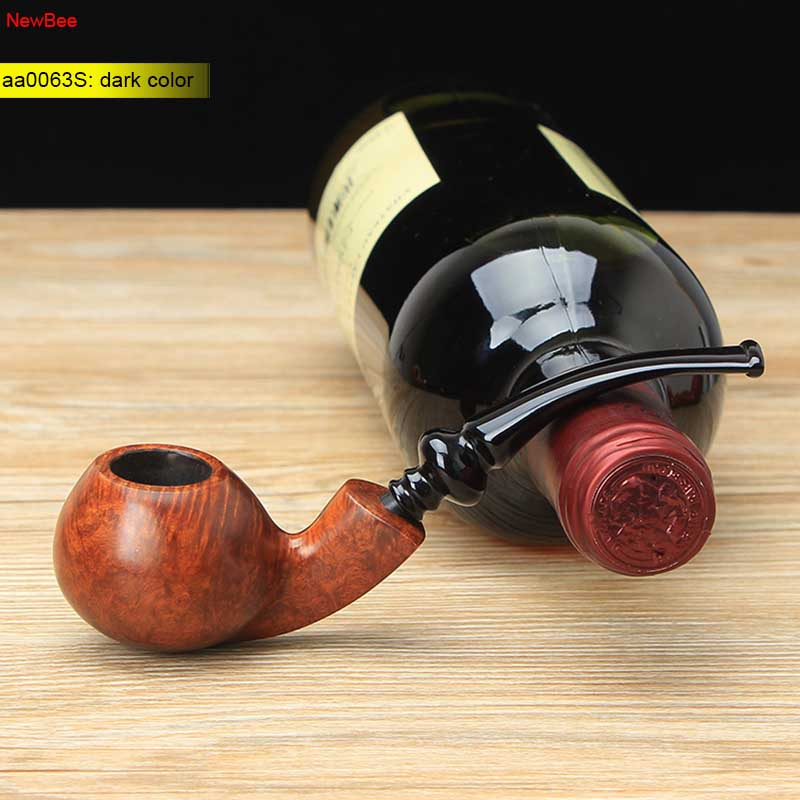 NewBee 10 Smoking Tools Kit Imported Briar Wood Smoking Pipe Handmade 3mm Filter Tobacco Cigarettes Cigar Apple Bent Pipe aa0063